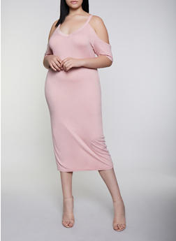 Plus Size V Neck Cold Shoulder Dress - 0390038349817