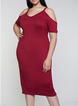 Plus Size V Neck Cold Shoulder Dress - 0390038349817