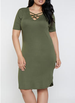 Plus Size Caged Soft Knit T Shirt Dress - 0390038349824