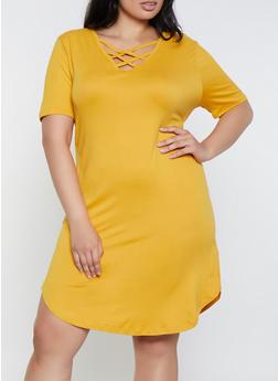 Plus Size Caged Soft Knit T Shirt Dress - 0390038349824