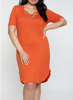 Plus Size Orange Knit Dresses