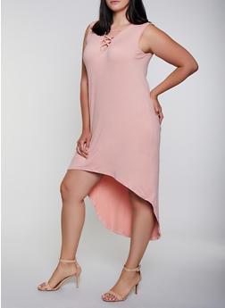 Plus Size Lace Up High Low Dress - 0390038349825