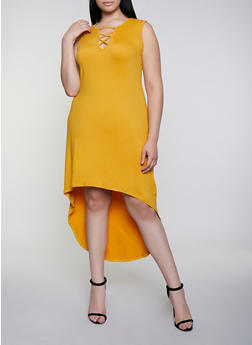 Plus Size Lace Up High Low Dress - 0390038349825