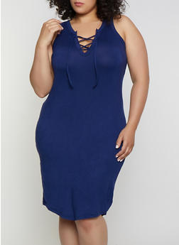 Plus Size Lace Up Tank Dress - 0390038349826
