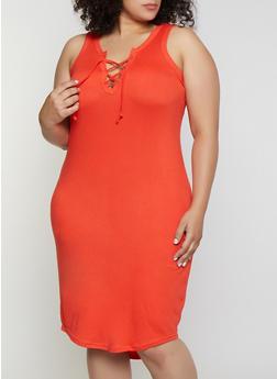 Plus Size Lace Up Tank Dress - 0390038349826