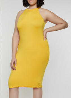 Plus Size Laser Cut Back Bodycon Tank Dress - 0390038349828