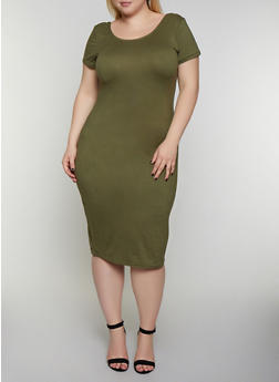 Plus Size Scoop Back Bodycon Dress - 0390038349831