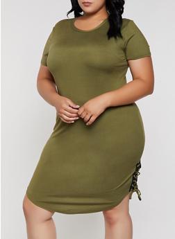 Plus Size Lace Up Soft Knit T Shirt Dress - 0390038349832