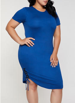 Plus Size Lace Up Soft Knit T Shirt Dress - 0390038349832