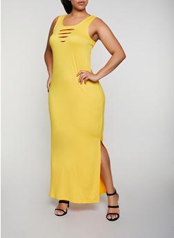 Plus Size Laser Cut Detail Tank Maxi Dress - 0390038349833