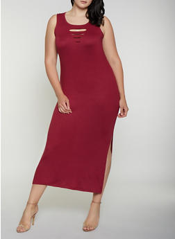 Plus Size Laser Cut Detail Tank Maxi Dress - 0390038349833