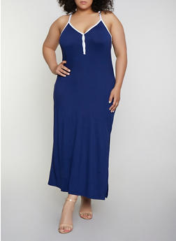 Plus Size Contrast Trim Cami Maxi Dress - 0390038349834