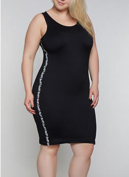 Plus Size Love Tape Bodycon Tank Dress - 0390038349835