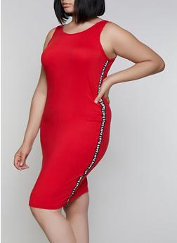 Plus Size Love Tape Bodycon Tank Dress - 0390038349835