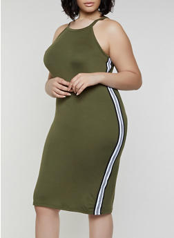 Plus Size Striped Tape Tank Dress - 0390038349836
