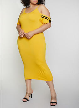 Plus Size Varsity Stripe Cold Shoulder Dress - 0390038349837