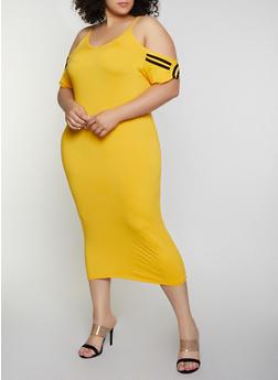 Plus Size Varsity Stripe Cold Shoulder Dress - 0390038349837