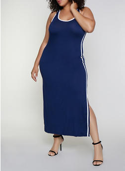 Plus Size Varsity Stripe Tank Maxi Dress - 0390038349838