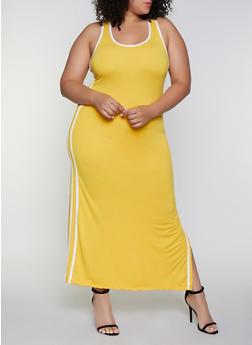 Plus Size Varsity Stripe Tank Maxi Dress - 0390038349838