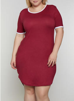 Plus Size Contrast Trim High Low T Shirt Dress - 0390038349841