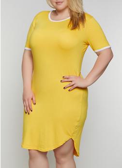 Plus Size Contrast Trim High Low T Shirt Dress - 0390038349841