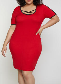 Plus Size Caged Contrast Trim T Shirt Dress - 0390038349850