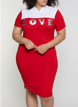 Plus Size Love Hooded T Shirt Dress - 0390038349851