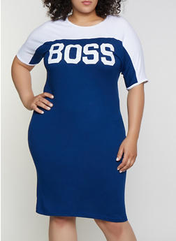 Plus Size Boss Color Block T Shirt Dress - 0390038349852