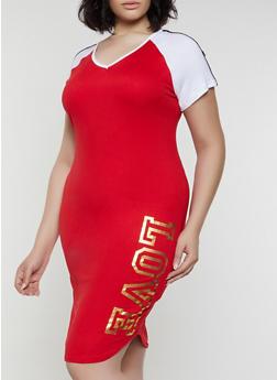 Plus Size Love Color Block T Shirt Dress - 0390038349855