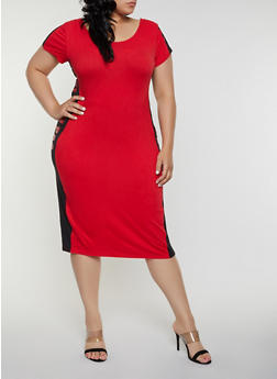 Plus Size Flawless Color Block Bodycon Dress - 0390038349856
