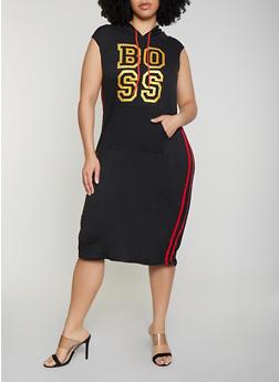Plus Size Boss Hooded Midi Dress - 0390038349858
