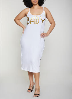 Plus Size Baby Graphic Cami Dress - 0390038349859