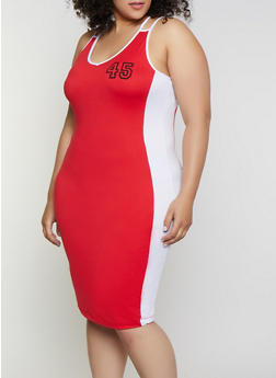 Plus Size 45 Contrast Trim Tank Dress - 0390038349860