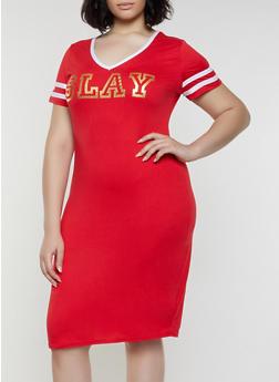 Plus Size Slay Foil Graphic T Shirt Dress - 0390038349861