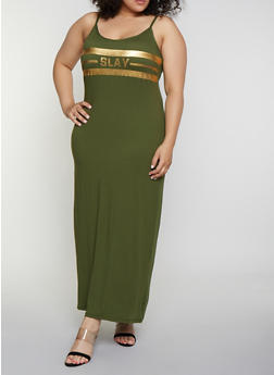 Plus Size Slay Foil Graphic Cami Maxi Dress - 0390038349862