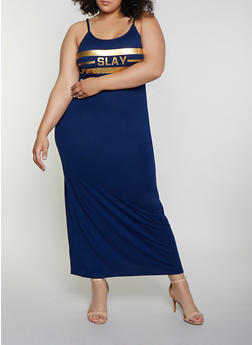 Plus Size Slay Foil Graphic Cami Maxi Dress - 0390038349862