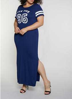 Plus Size New York 95 Graphic T Shirt Dress - 0390038349863