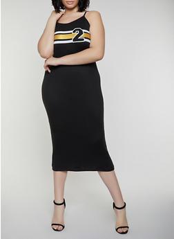 Plus Size Striped Detail Cami Dress - 0390038349865
