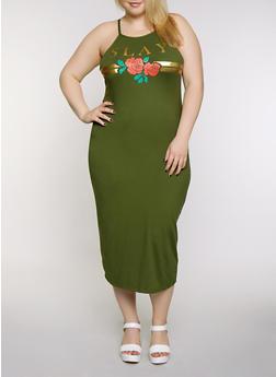 Plus Size Slay Rose Maxi Dress - 0390038349866