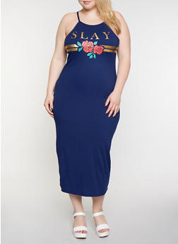 Plus Size Slay Rose Maxi Dress - 0390038349866