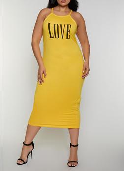 Plus Size Love Graphic Tank Midi Dress - 0390038349869
