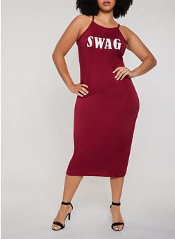 Plus Size Swag Graphic Cami Dress - 0390038349870