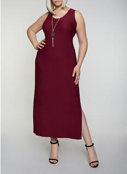 Plus Size Caged Back Maxi Dress with Necklace - 0390038349872