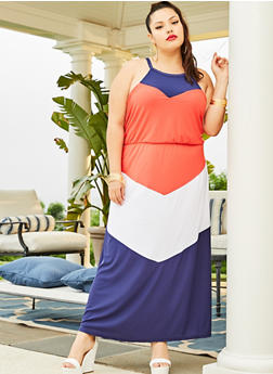 Plus Size Color Block Sleeveless Maxi Dress - 0390038349876