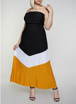 5c40b2f42 Plus Size Color Block Strapless Maxi Dress - 0390038349877