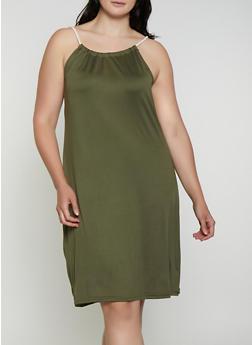 Plus Size Rope Strap Midi Dress - 0390038349879