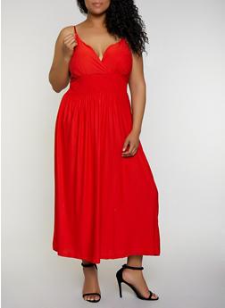 Plus Size Smocked Empire Waist Dress - 0390038349880