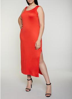Plus Size Side Slit Tank Maxi Dress | 0390038349881 - 0390038349881