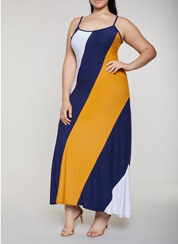 Plus Size Color Block Maxi Cami Dress - 0390038349882