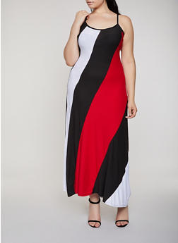Plus Size Color Block Maxi Cami Dress - 0390038349882